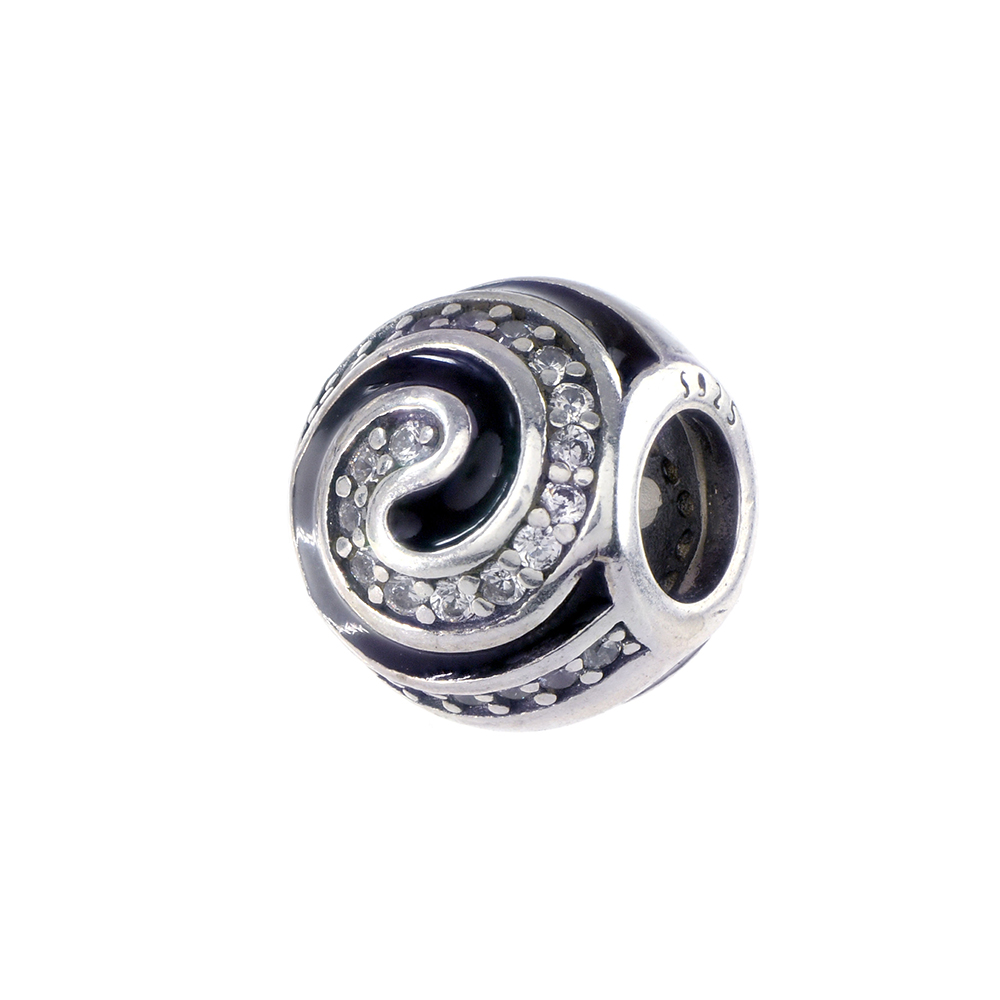 Talisman argint 925 spirala email negru si zirconiu