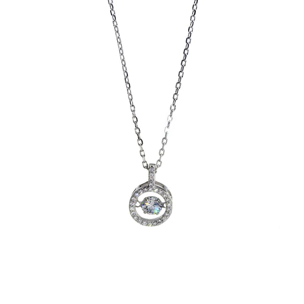 Lant cu pandantiv din argint 925 cerc si zirconiu alb Solitaire