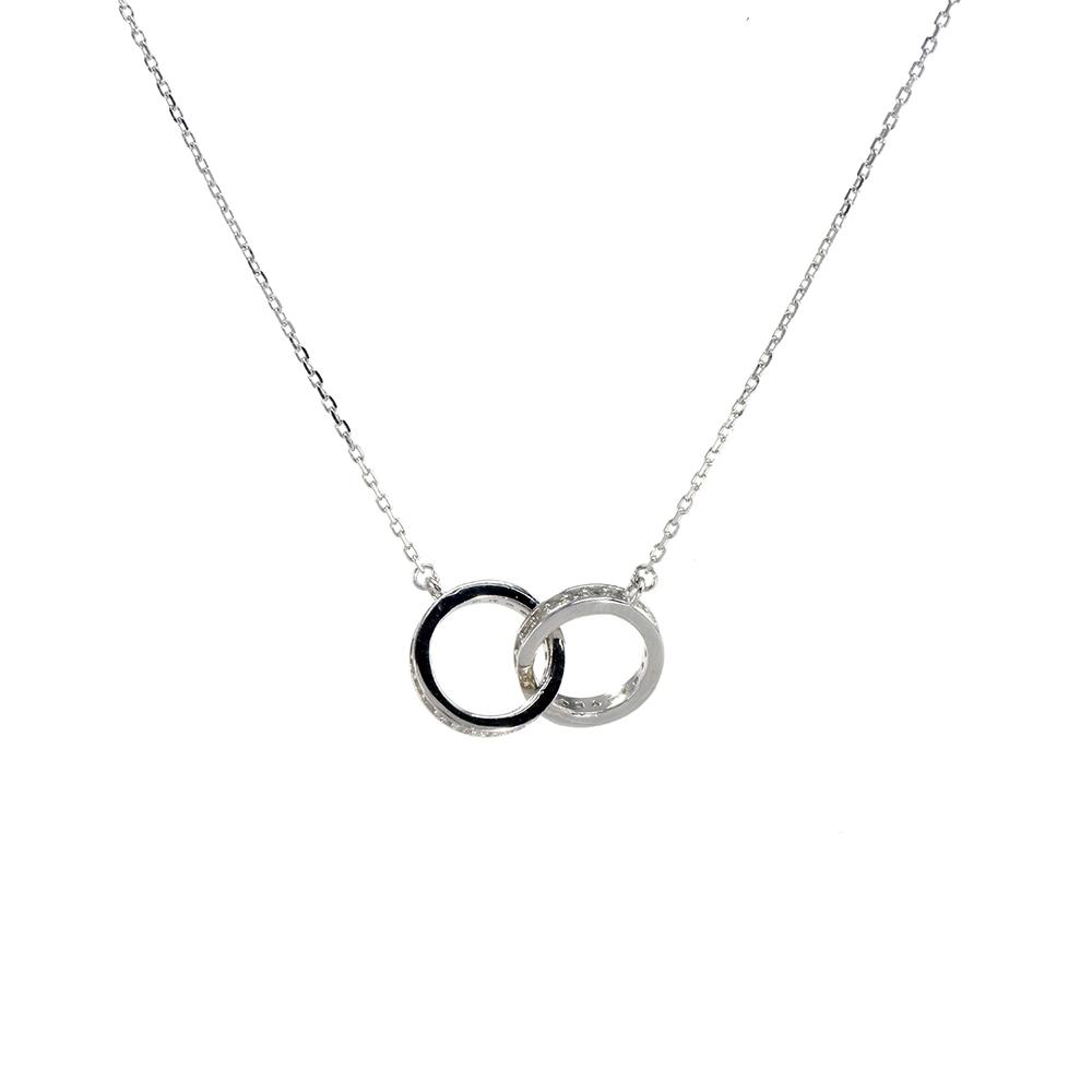 Lant cu pandantiv din argint 925 cu inele intrepatrunse decorate cu zirconiu alb