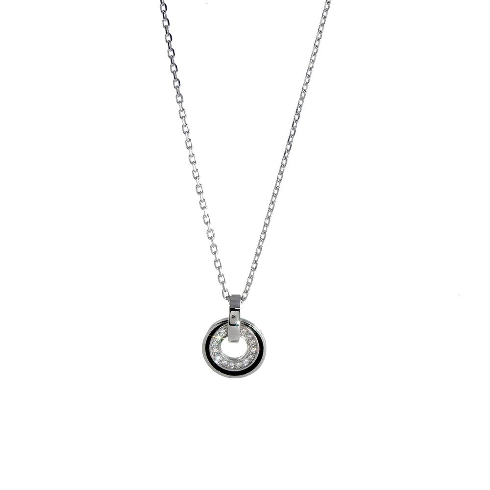 Lant cu pandantiv din argint 925 rotund cu zirconiu alb si email negru