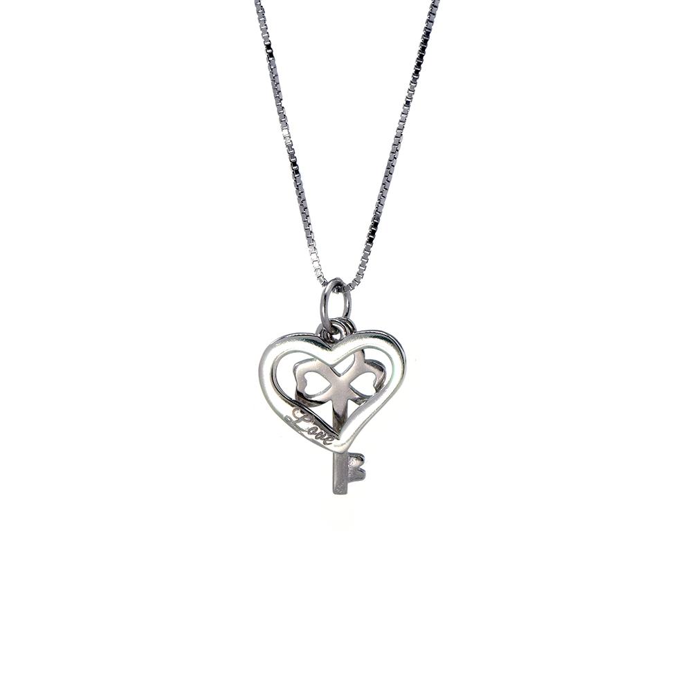 Lant cu pandantive din argint 925 cheie si inima cu mesaj LOVE