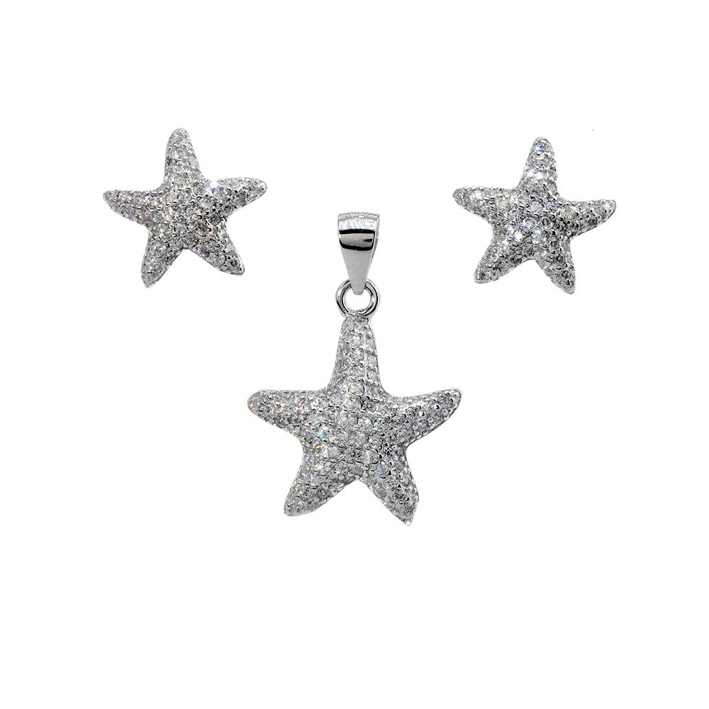 Set cercei si pandantiv din argint 925 stelute de mare cu zirconii albe
