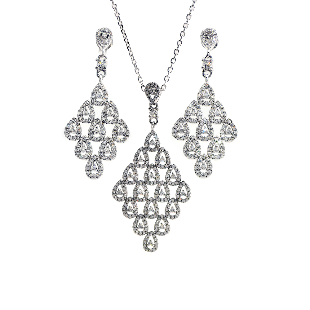 Set lant cu pandantiv si cercei din argint 925 decorat cu zirconiu alb
