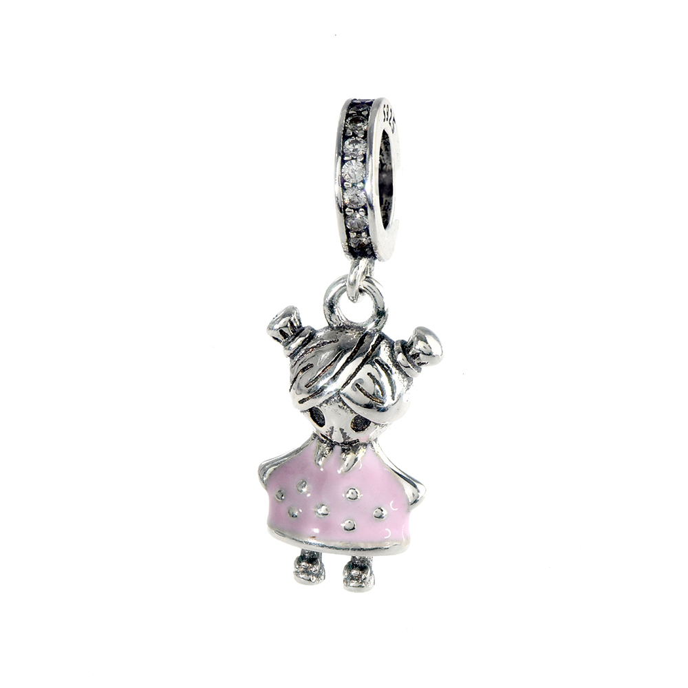 Talisman argint 925 Fetita cu rochita email roz