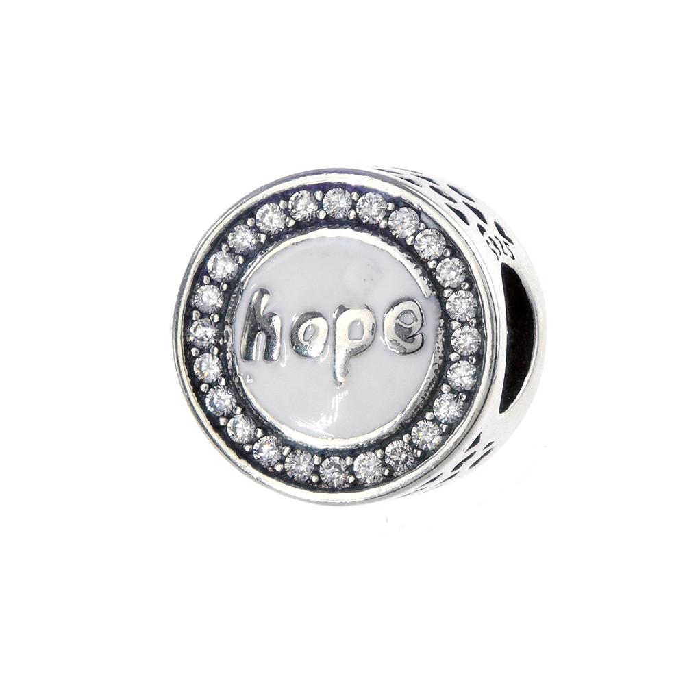 Talisman argint 925 Hope cu email si zirconiu alb