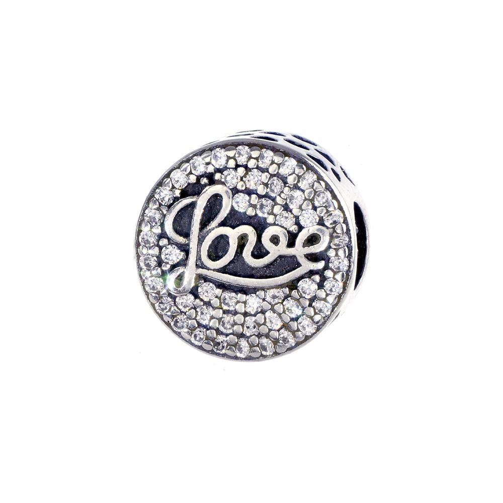 Talisman argint 925 Love decorat cu zirconii albe