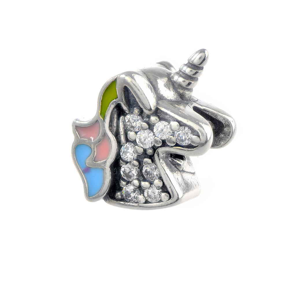 Talisman argint 925 Unicorn decorat cu zirconiu alb si email multicolor