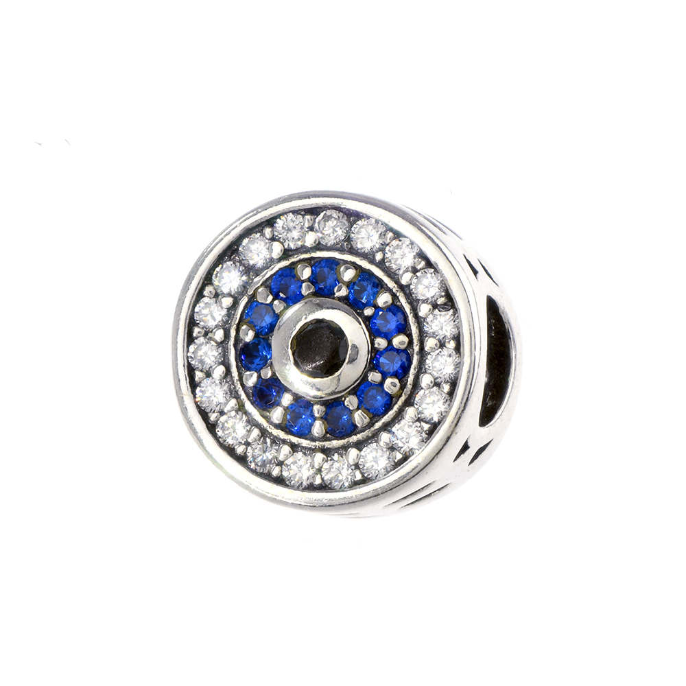 Talisman argint 925 cu zirconii albe si albastre