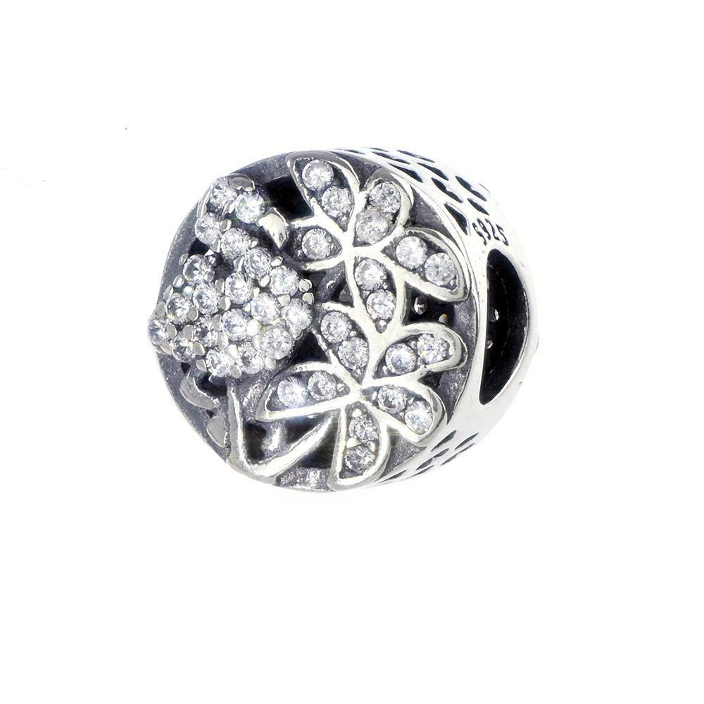 Talisman argint 925 flamingo si flori cu zirconiu alb