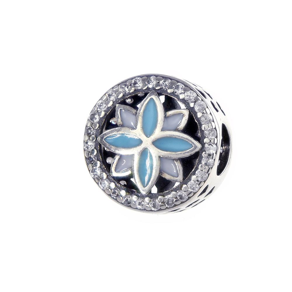 Talisman argint 925 floare de colt cu petale email alb, turcoaz si zirconiu alb