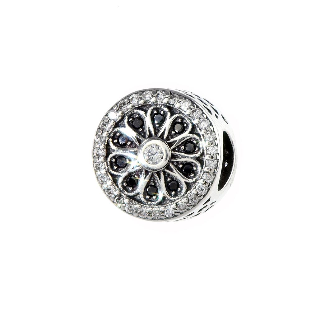 Talisman argint 925 rotund cu zirconii albe si negre