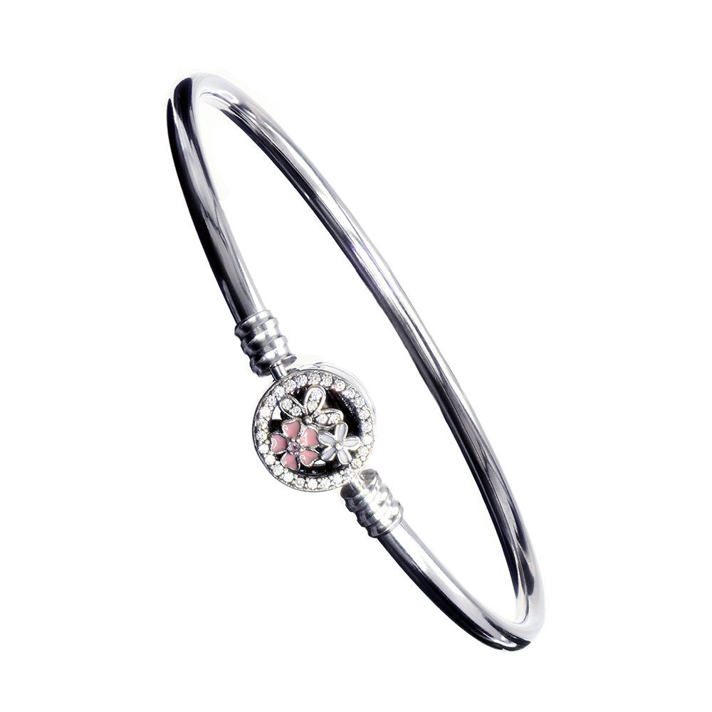 Bratara charm fixa din Argint 925, inchizatoare flori email roz si albe, lungime 19 cm