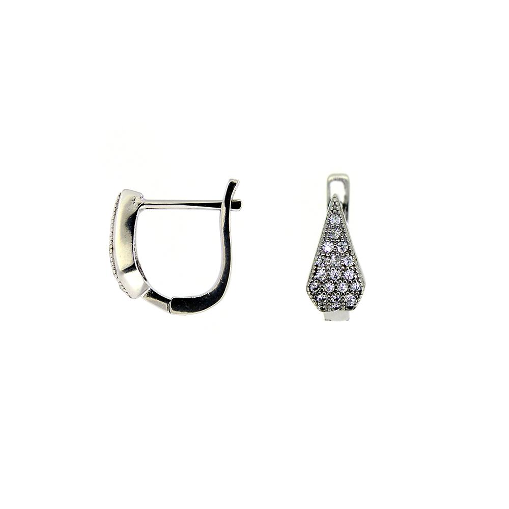 Cercei din Argint 925 rodiatccu zirconii albe, inchizatoare englezeasca