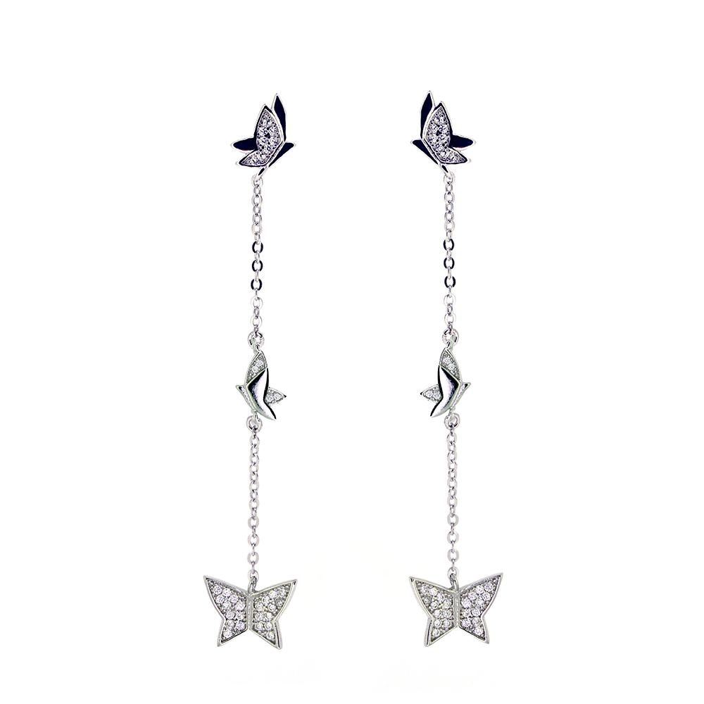 Cercei lungi fluturasi, din Argint 925 rodiati, decorati cu zirconiu alb si inchizatoare tija