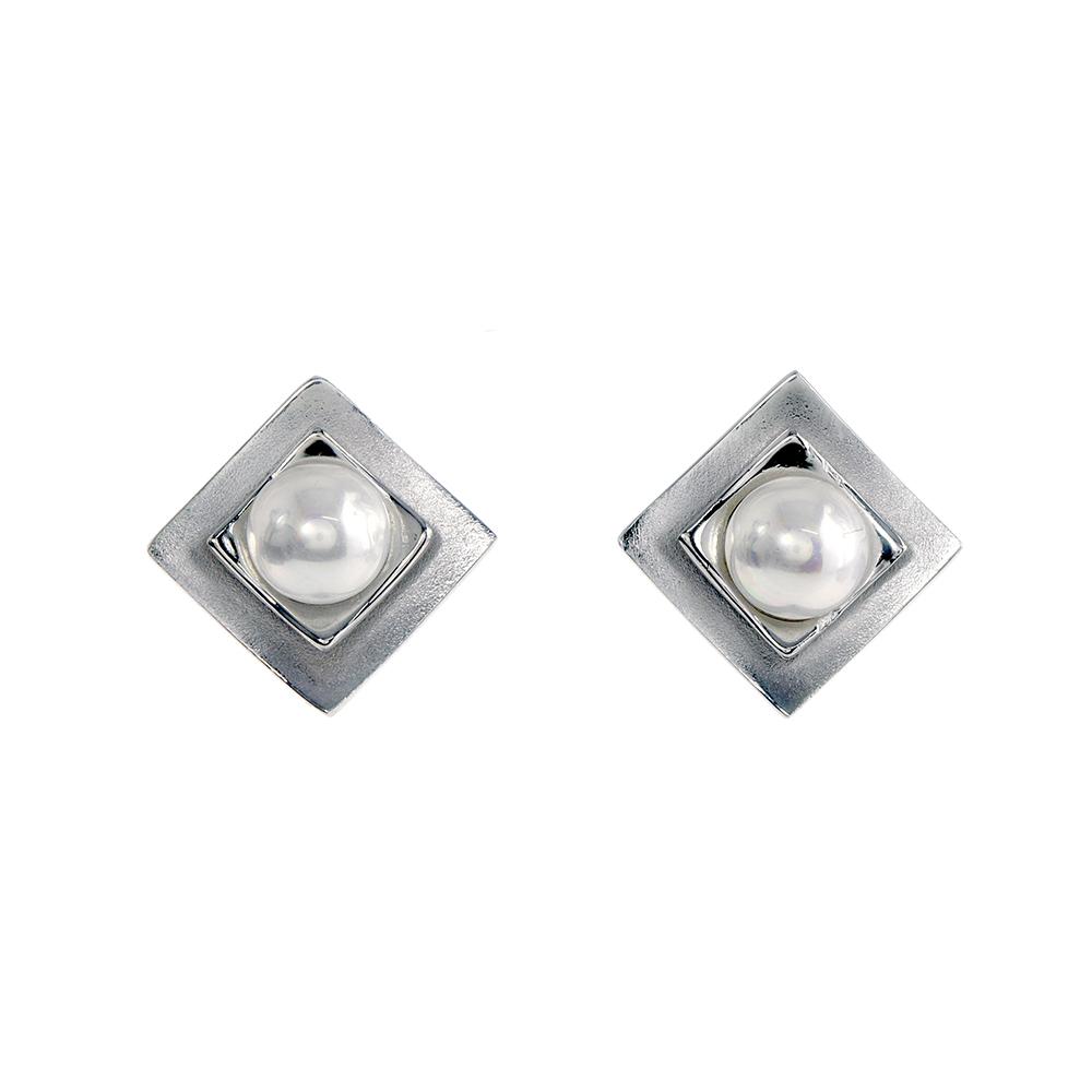 Cercei patrati din Argint 925 cu perla alba de apa dulce, inchizatoare tip tija