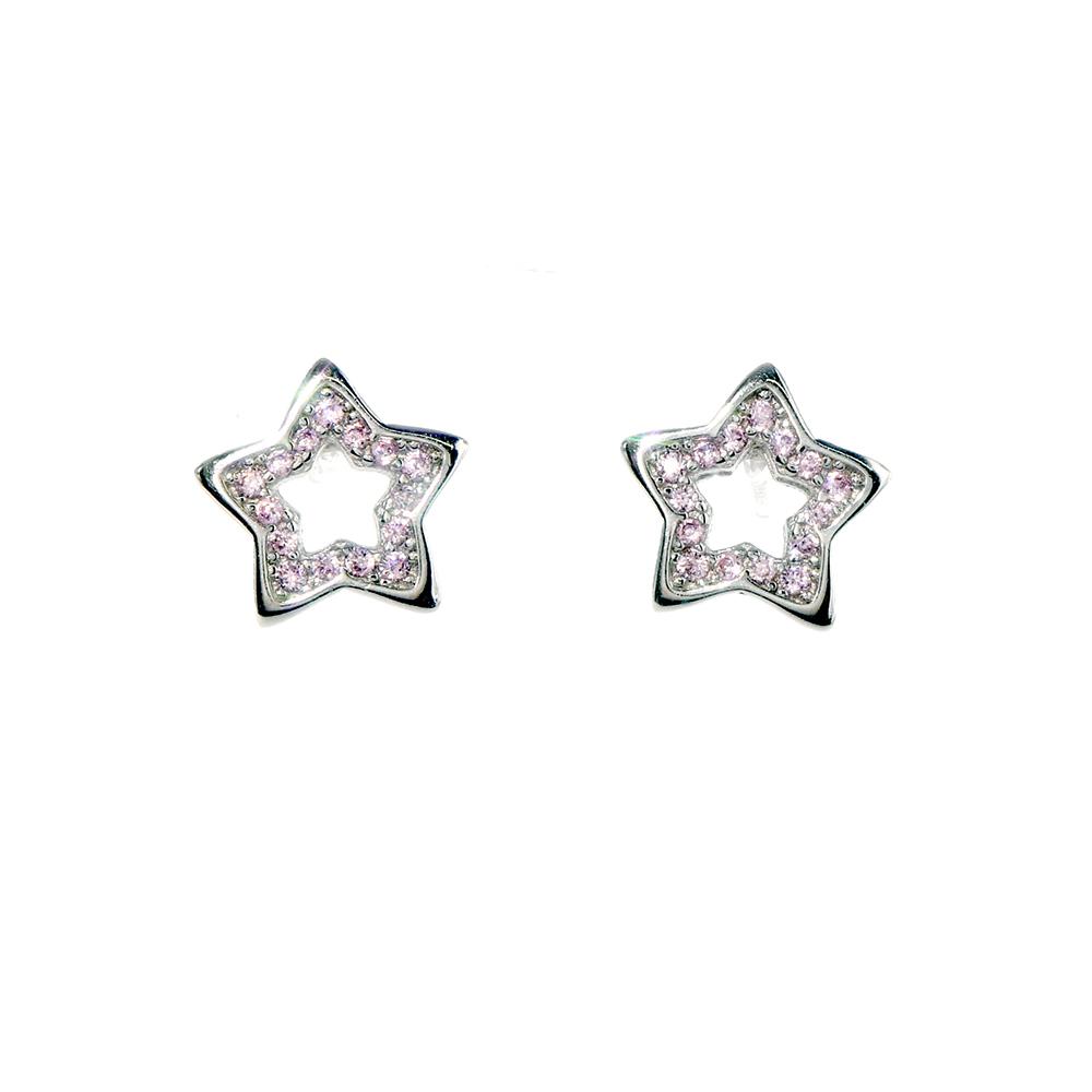 Cercei stelute din Argint 925 cu zirconiu roz si inchizatoare tija
