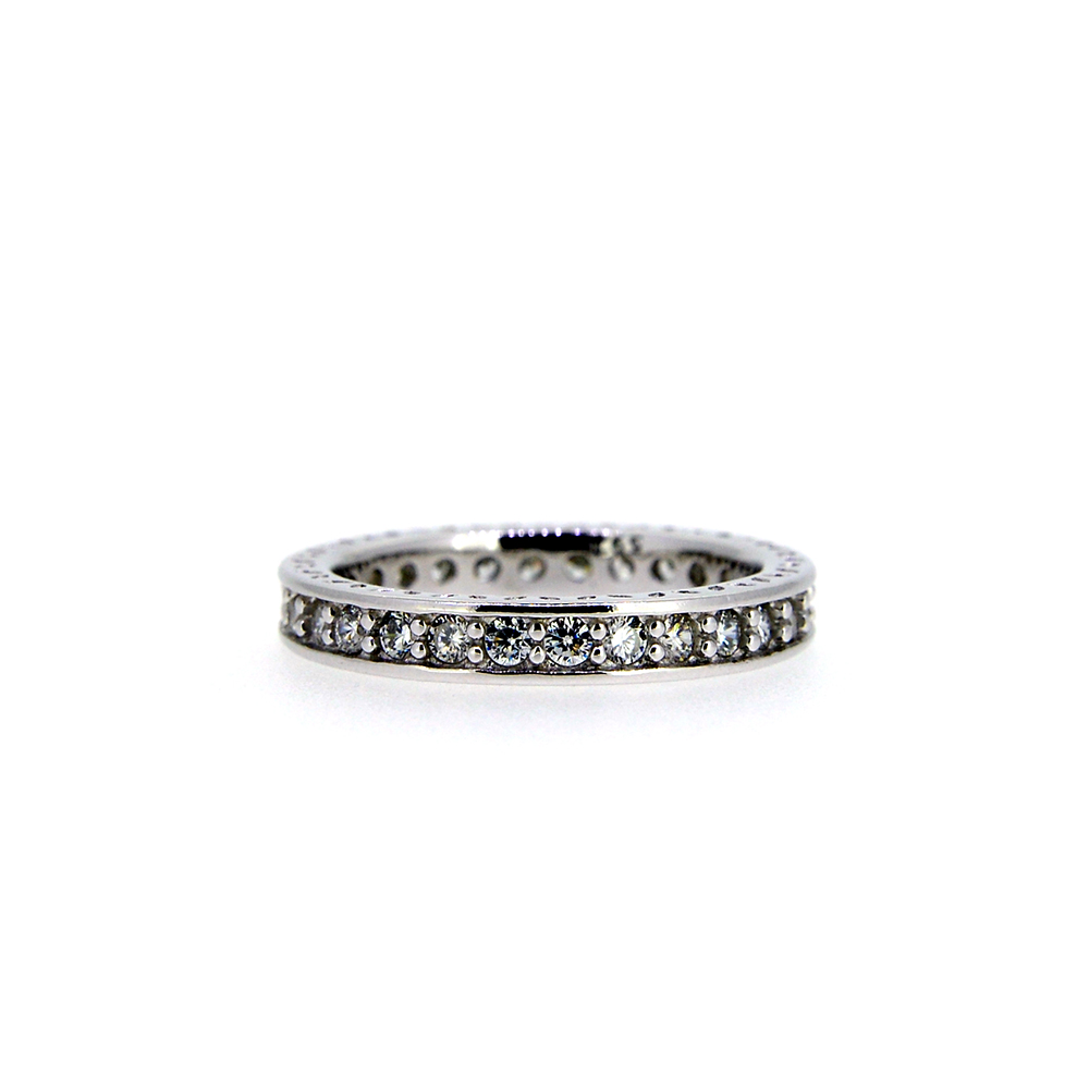 Inel tip verigheta din Argint 925 cu zirconiu alb, marime 53