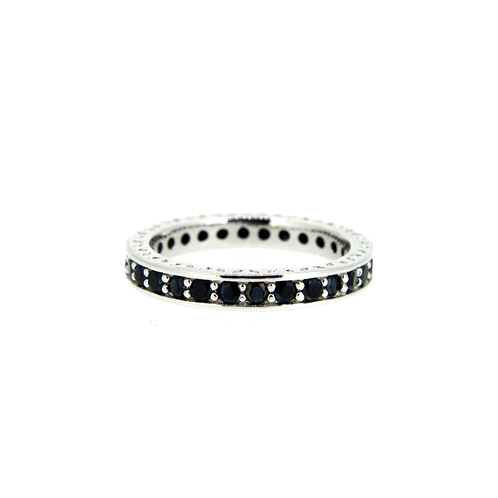 Inel tip verigheta din Argint 925 cu zirconiu rotund negru, marime 53