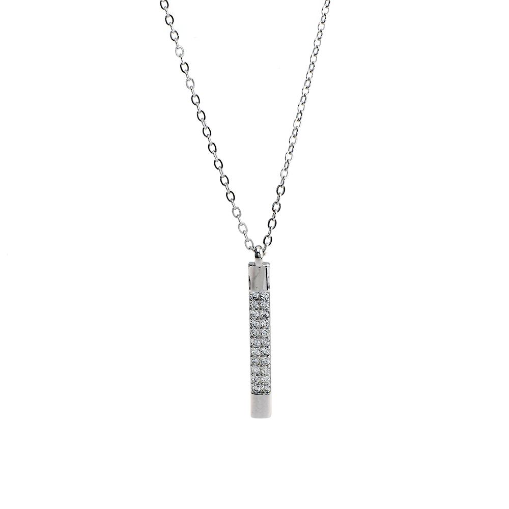 Lant cu pandantiv bagheta din Argint 925 rodiat, decorat cu zirconiu alb, lungime reglabila