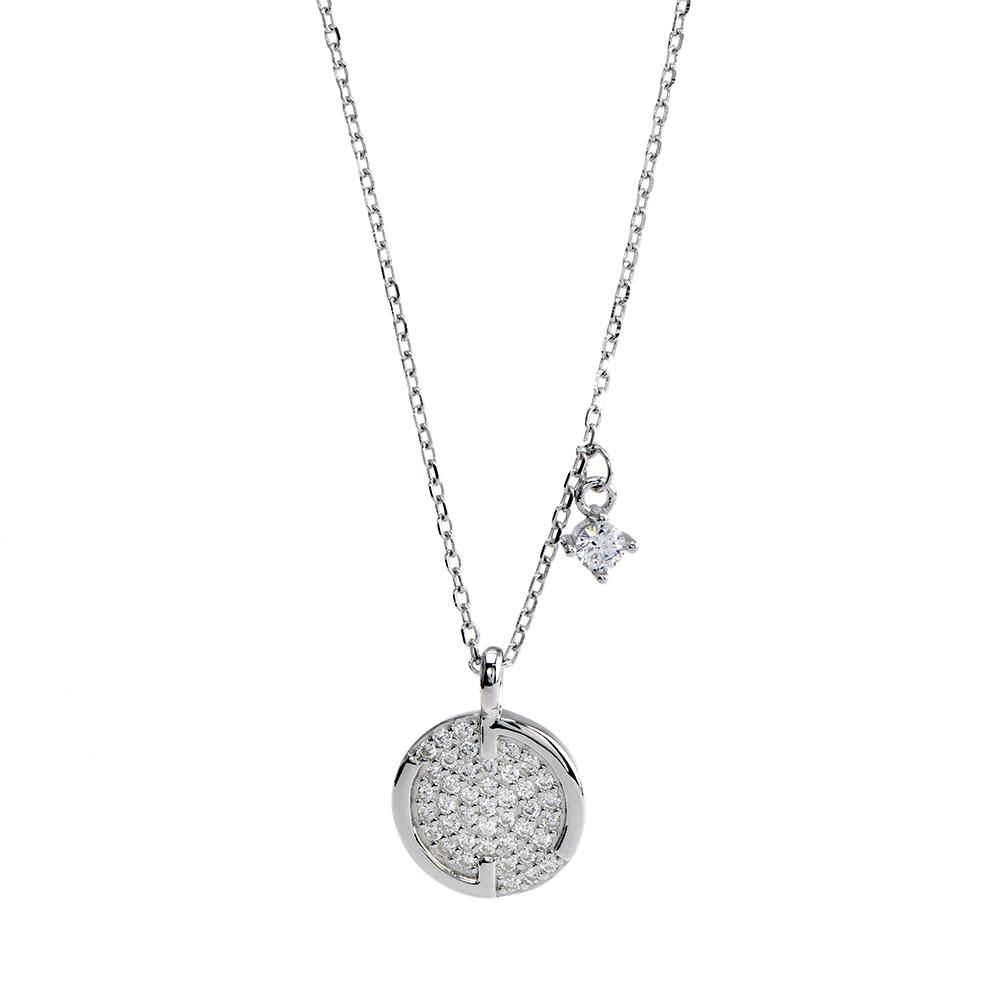 Lant cu pandantiv rotund din argint rodiat 925, decorat cu zirconiu alb, lungime reglabila