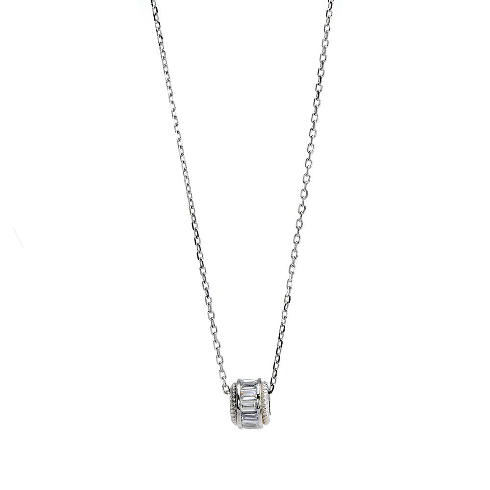Lant cu pandativ pentru talismane, din Argint 925, rodiat, cu zirconiu alb