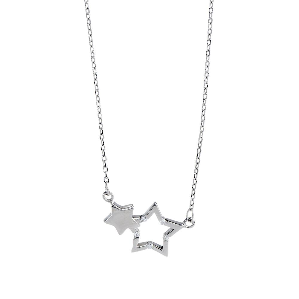 Lant cu stelute din Argint 925 rodiat si pietre de zirconiu alb, lungime reglabila