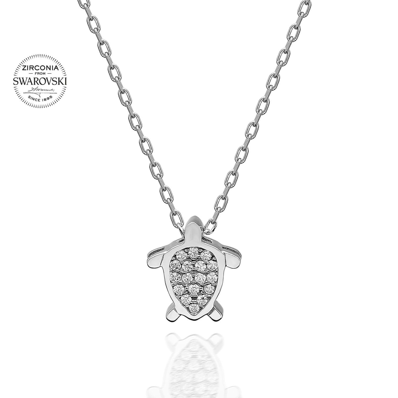 Imagine Lant Din Argint 925 Cu Pandantiv Broasca Testoasa Cristale Swarovski