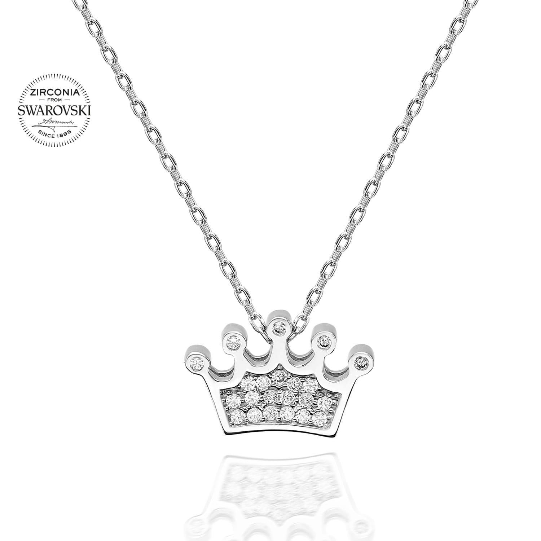 Lant din Argint 925 cu pandantiv coroana cu cristale swarovski