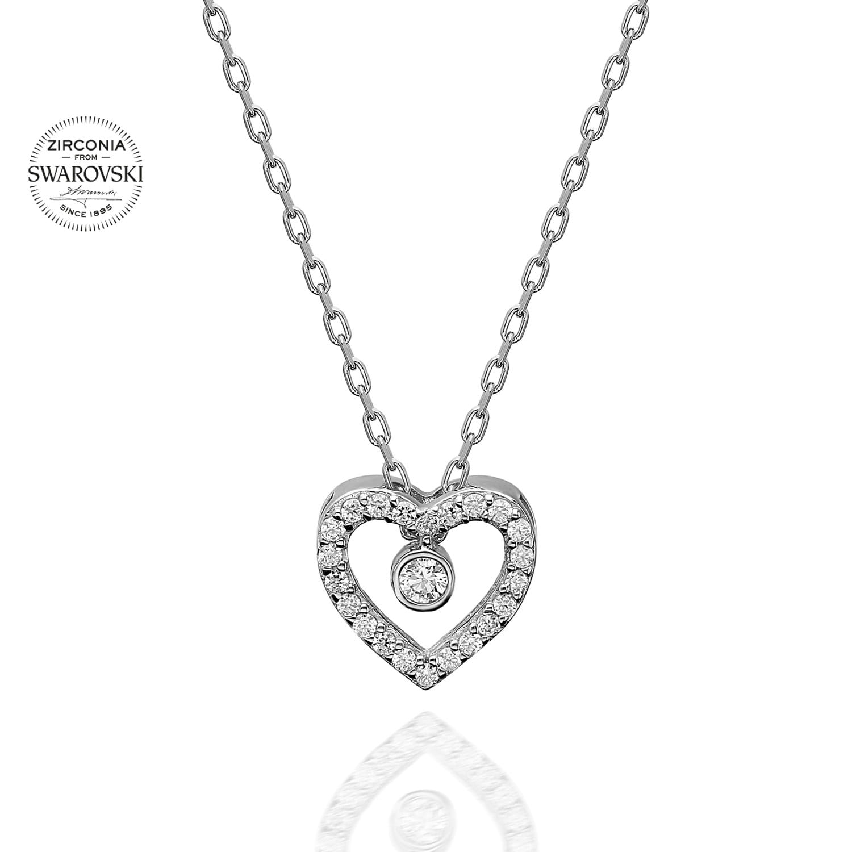 Lant din Argint 925 cu pandantiv inima cu cristale swarovski