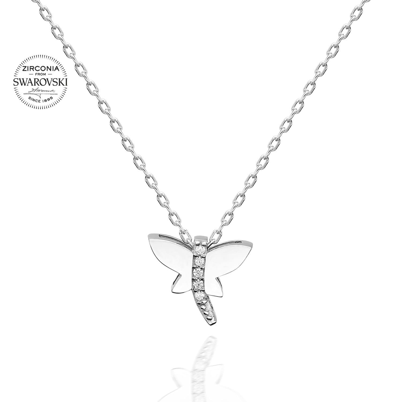 Lant din Argint 925 cu pandantiv libelula cu cristale swarovski