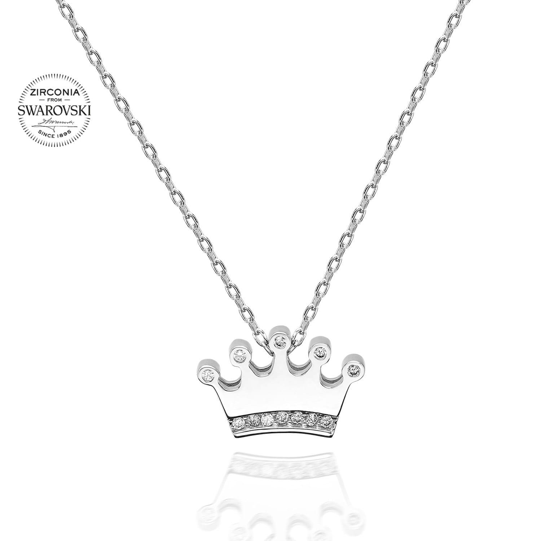 Lant din Argint 925 cu pandantiv model coronita cu cristale swarovski
