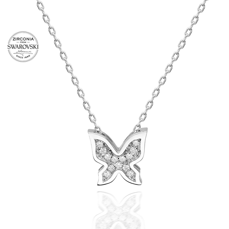 Lant din Argint 925 cu pandantiv model fluture cu cristale swarovski