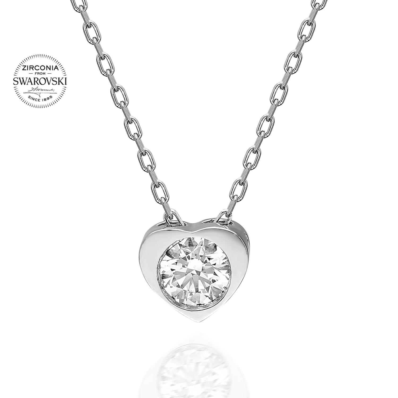 Lant din Argint 925 cu pandantiv model inimioara cu cristale swarovski