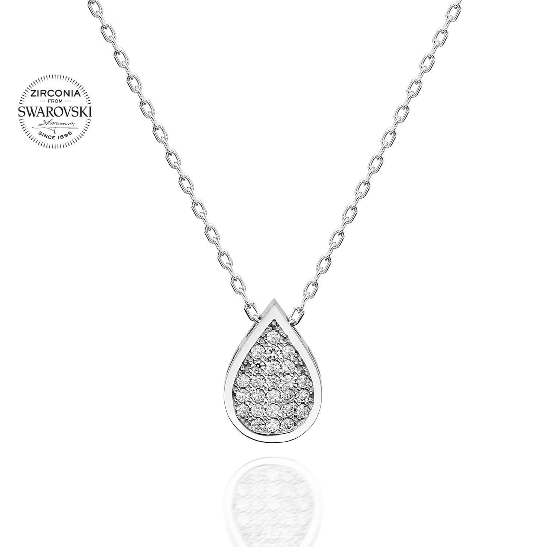Lant din Argint 925 cu pandantiv model lacrima cu cristale swarovski