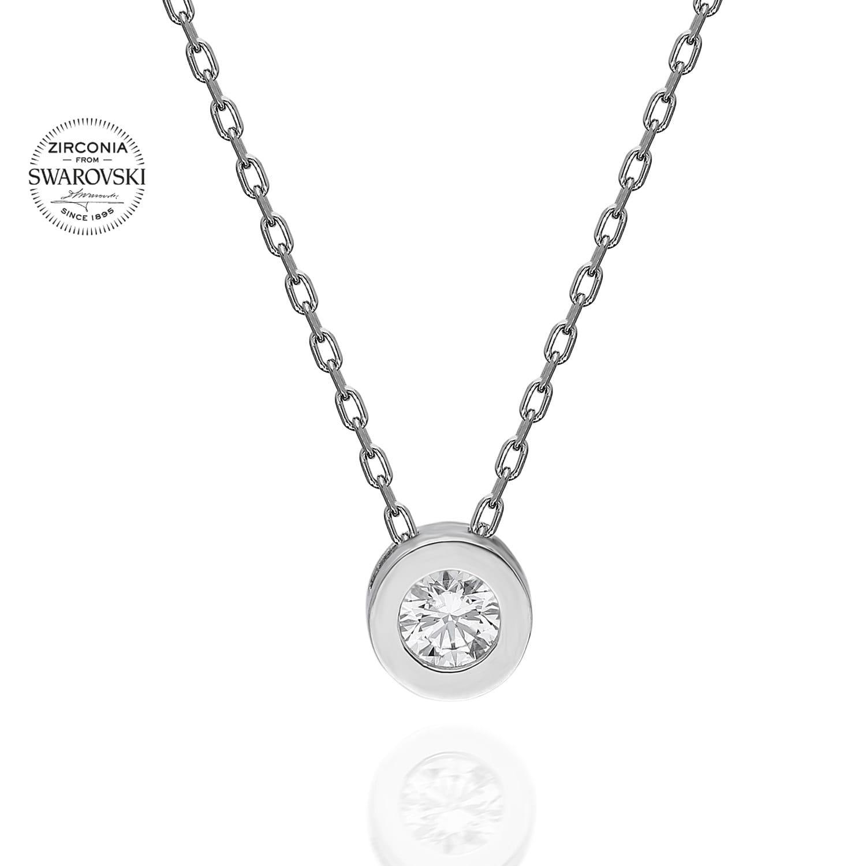 Lant din Argint 925 cu pandantiv rotund solitaire cu cristale swarovski