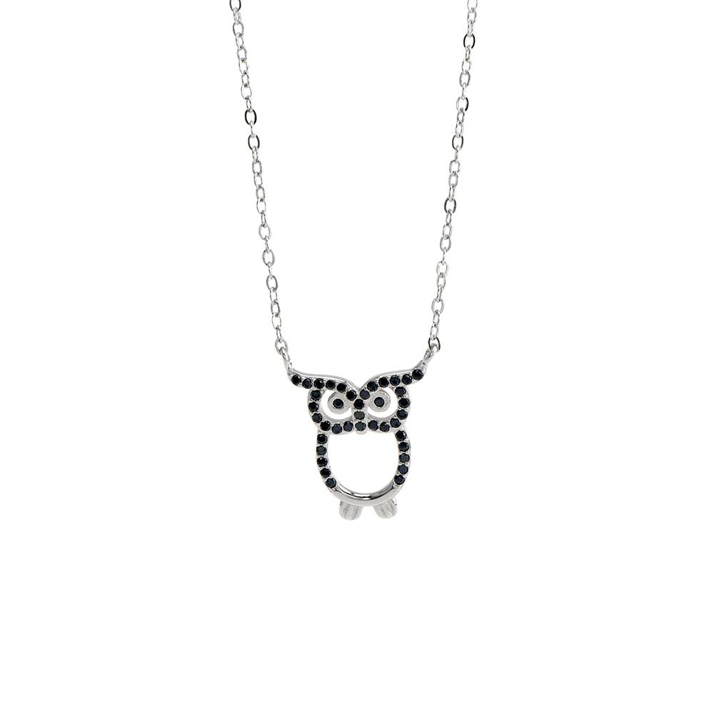 Lant din Argint 925 rodiat cu pandantiv bufnita cu cristale negre