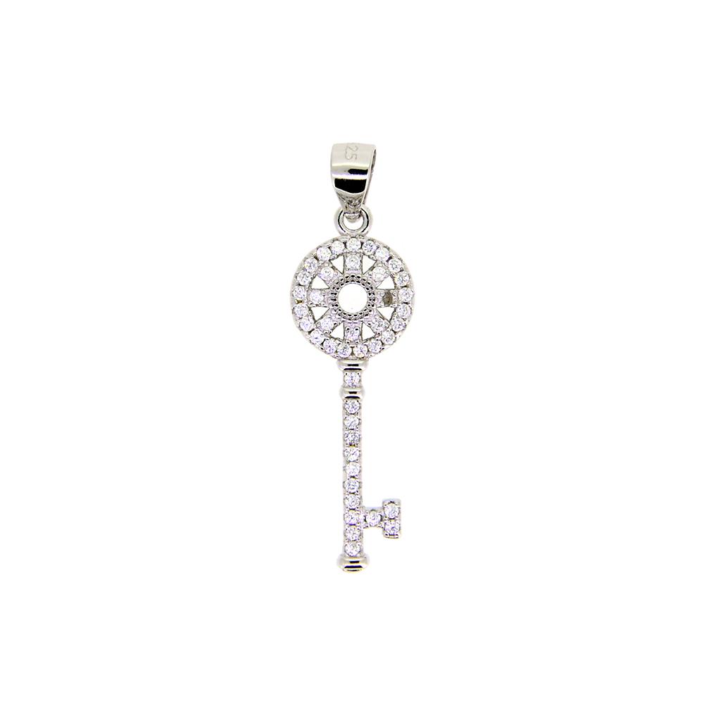 Pandantiv cheie din Argint 925 rodiat, cu pietre de zirconiu alb