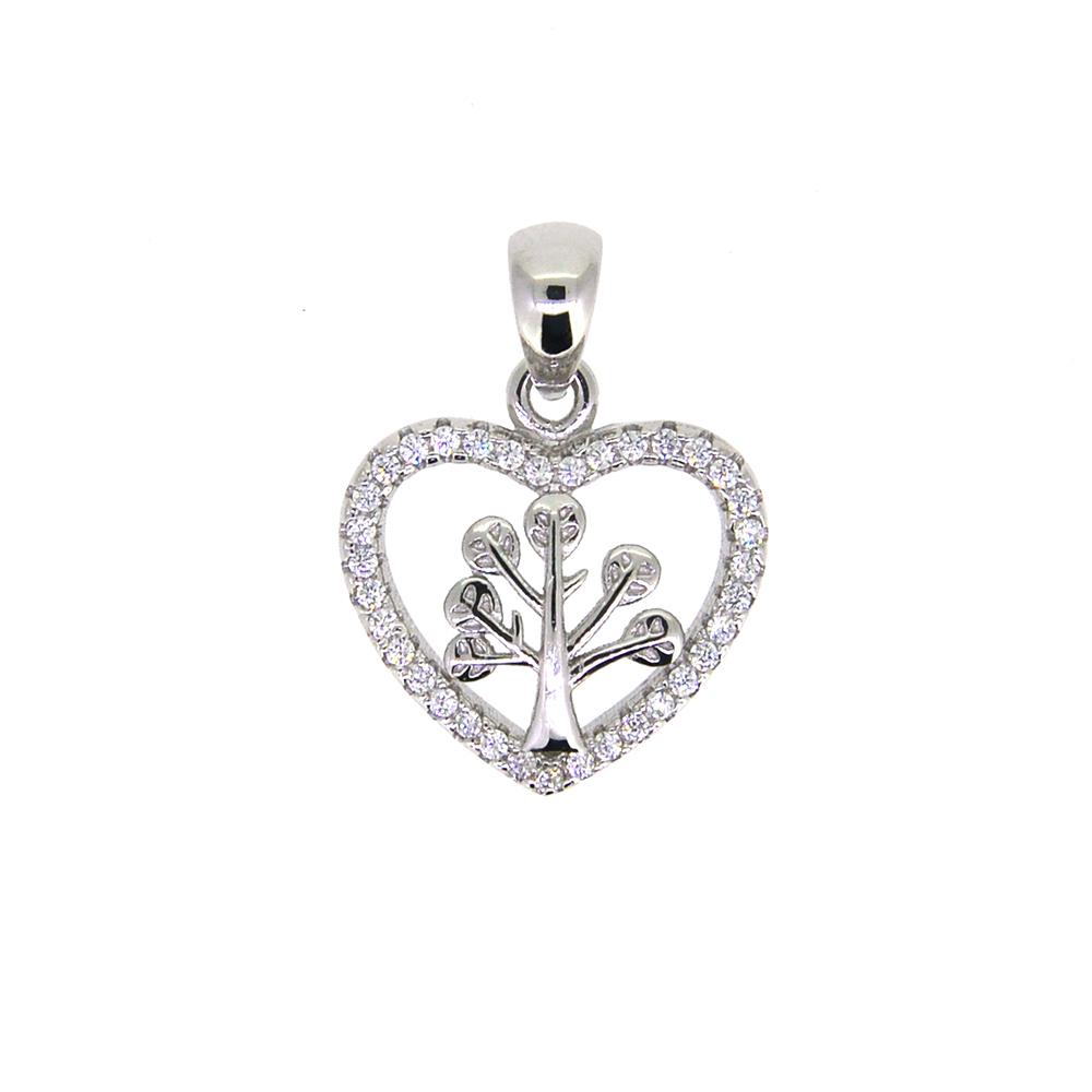 Pandantiv inima tree of life, din Argint 925 rodiat si zirconiu alb