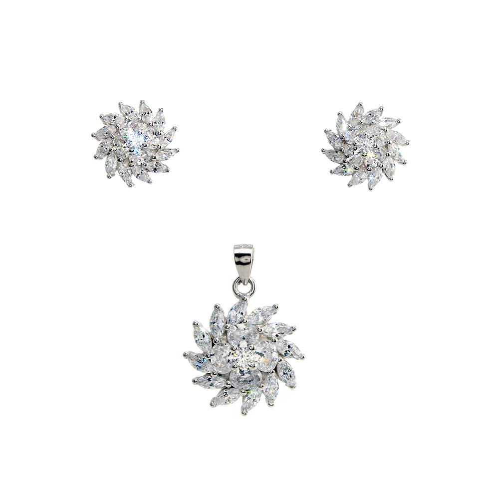 Set cercei si pandantiv din Argint 925 rodiat, decorat cu zirconiu alb, inchizatoare tija