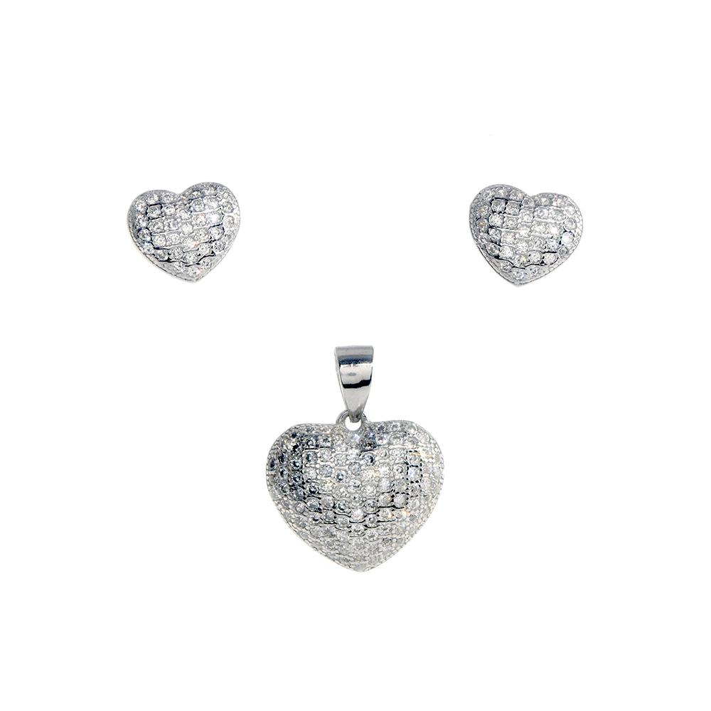 Set cercei si pandantiv din Argint 925 rodiat in forma de inima cu zirconiu alb, inchizatoare tija