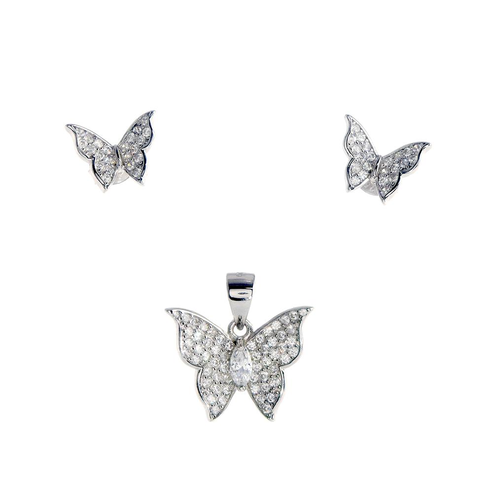 Set cercei si pandantiv fluture din Argint 925 rodiat, cu zirconii albe, inchizatoare tija