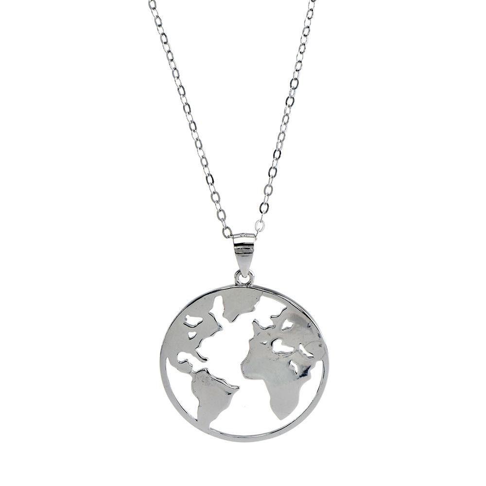 Set lant cu pandantiv the earth din Argint 925 rodiat, lungime lant reglabila