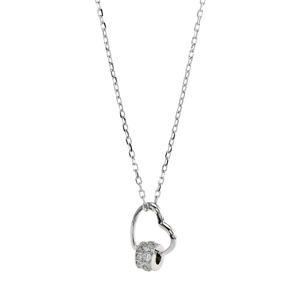Set lant si pandantiv inima din Argint 925 rodiat, cu zirconiu alb, lant lungime reglabila