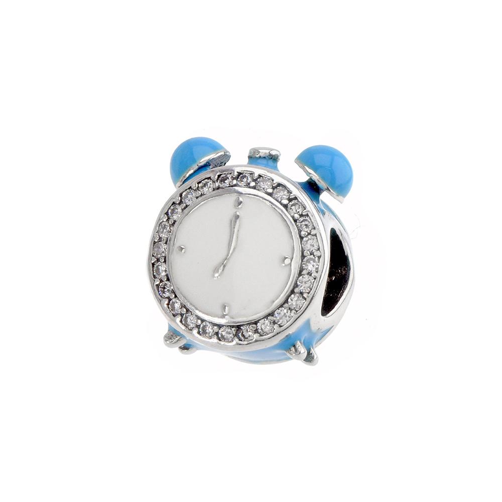 Talisman ceas desteptator, din Argint 925, cu email albastru si zirconiu alb