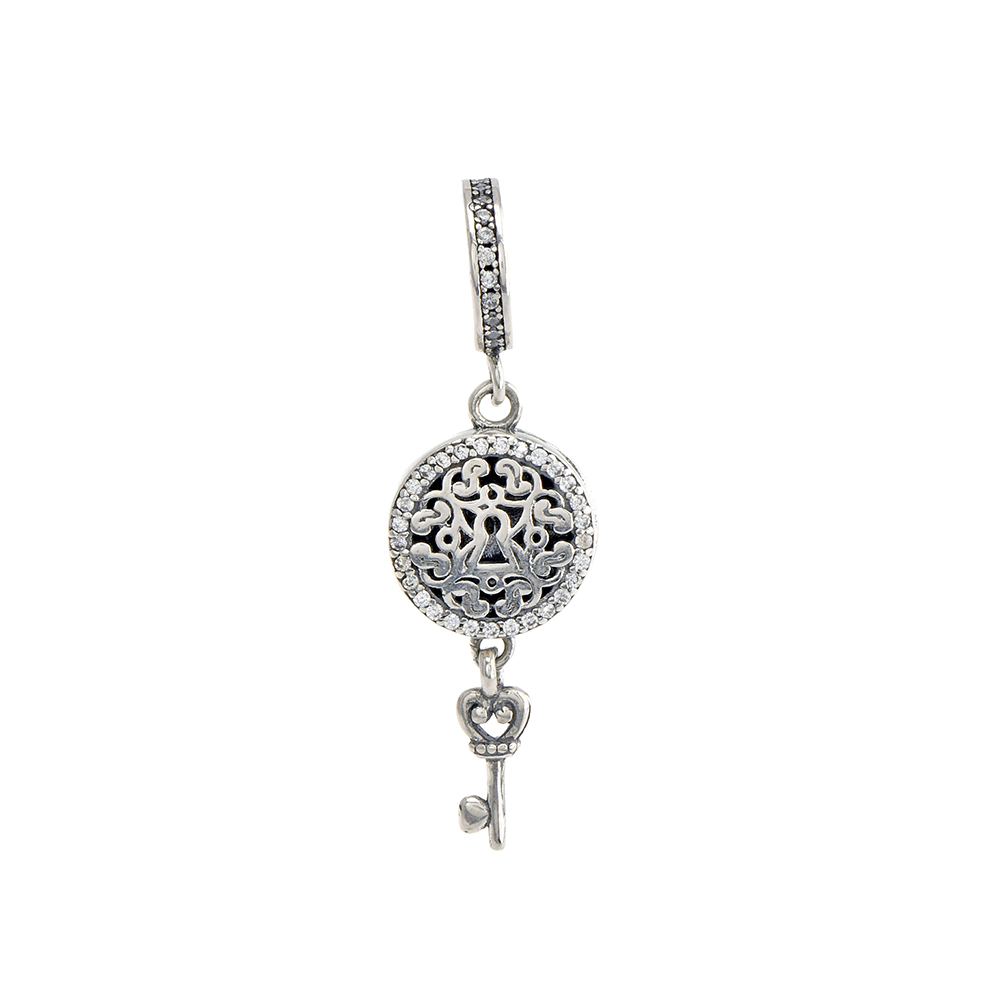 Talisman din Argint 925, lacat si cheita, cu zirconiu alb