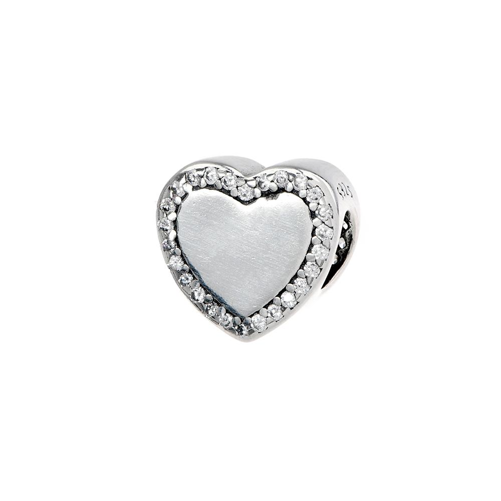 Talisman inima din Argint 925 cu zirconiu alb