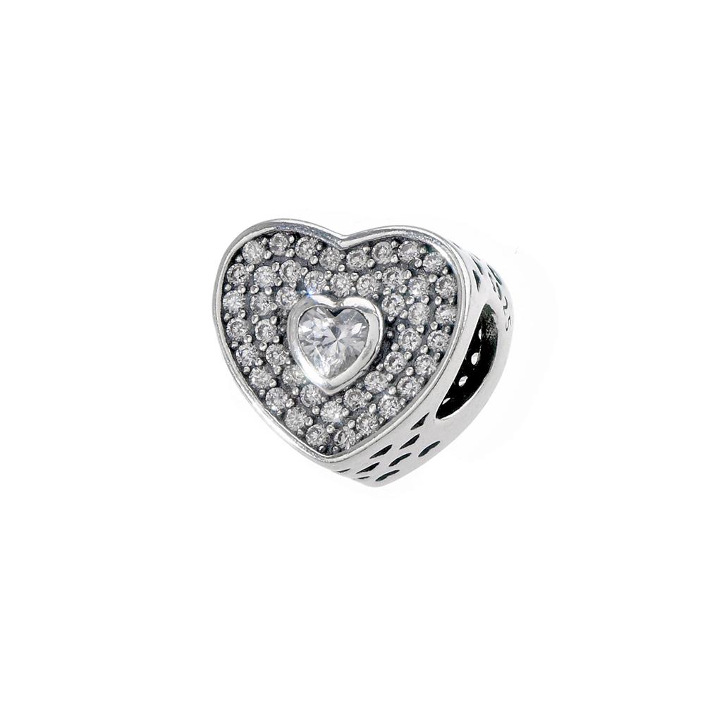 Talisman inima din Argint 925 si zirconiu alb