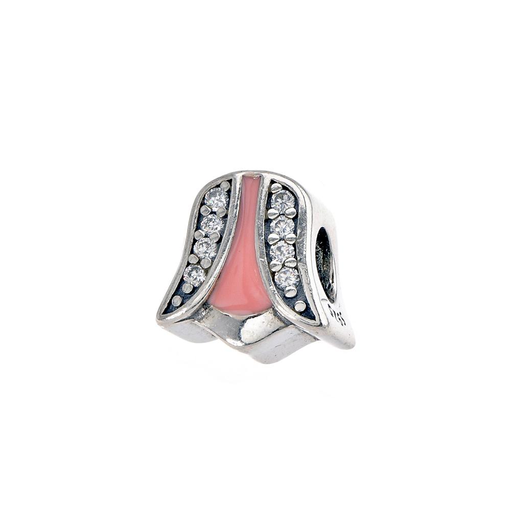 Talisman lalea din Argint 925 cu email roz si zirconiu alb