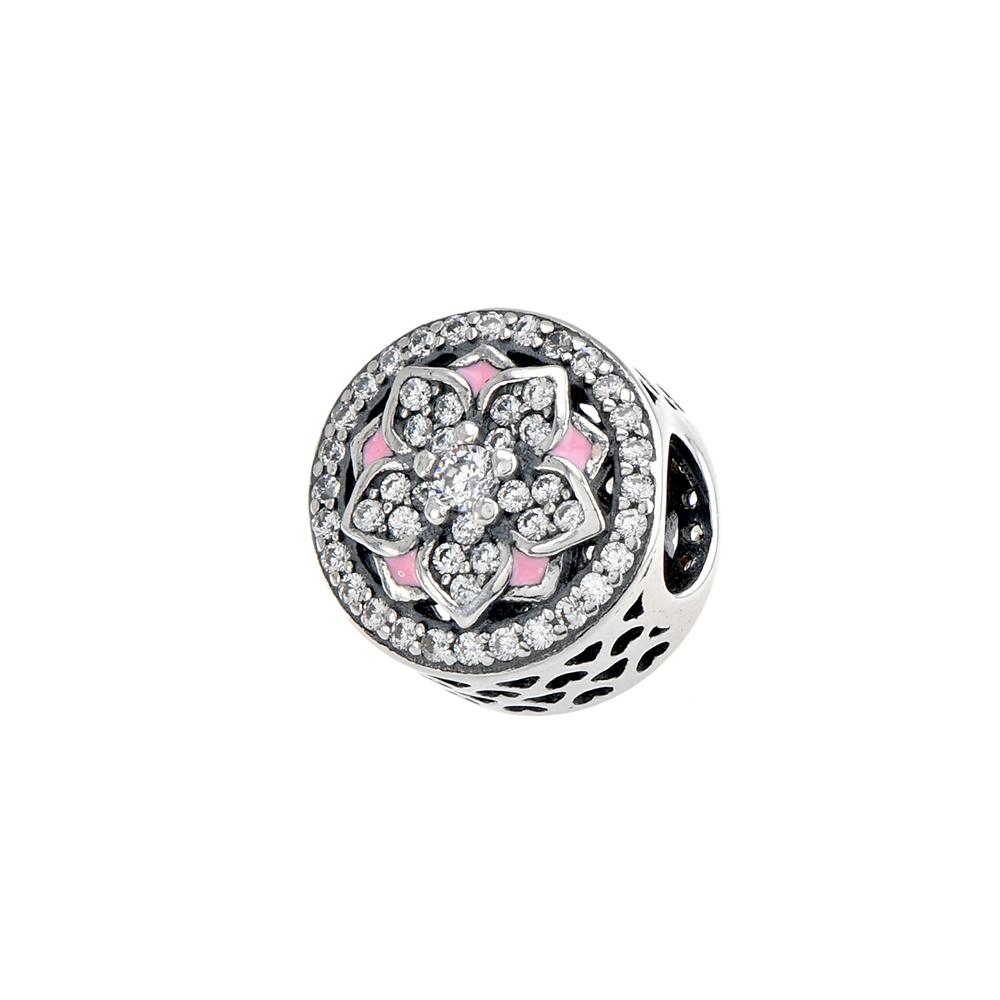 Talisman rotund cu floare, din Argint 925, cu email roz si zirconii albe