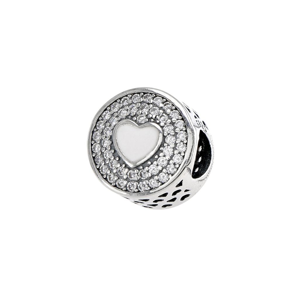 Talisman rotund din Argint 925 cu inimoara din email alb si zirconiu
